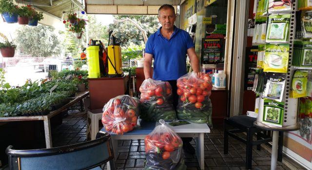 Alanya Toroslarının Yörük Beyi bahçesinden topladığı sebzeleri ihtiyaç sahiplerine veriyor